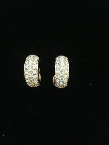Elegant Swarovski Signed Swan Gold Tone & Rhinestone Earrings