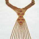 Goldette Vintage 1960's Egyptian Revival Fringe Necklace Unsigned