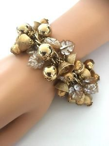 Miriam Haskell Gold Tone Dangling Cluster Charm Bracelet