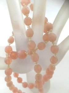 Miriam Haskell Vintage 1970's Multi Faceted Pink Bead Necklace