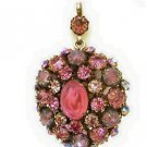 Schreiner N.Y. Double Sided Rhinestone And Cabochon Pendant