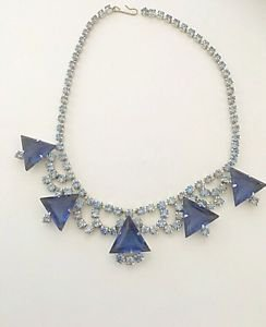 Vintage 1950's a Glass And Rhinestone Choker Necklace
