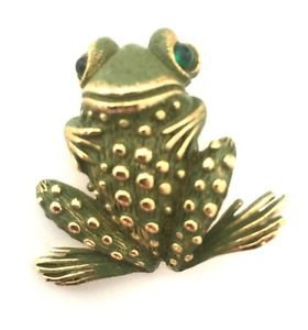 Coro Vintage Enamel And Cabochon Frog Toad  Pin