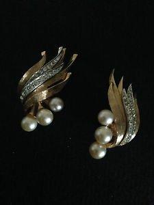 Boucher Vintage Goldtone Faux Pearls And Rhinestone Earrings