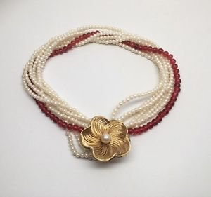 Les Bernard Seven Strand Faux Pearl And Resin Flower Choker Necklace
