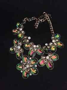 Watermelon Glass Fashion Statement Floral Necklace
