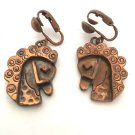 Rebajes Vintage Copper Horse Head Earrings