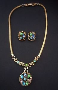 Barclay 1950's Jewels Of India Pastel Rhinestone Necklace And Earring Set