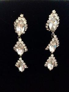 Weiss Vintage Three Tier Chandelier Earrings