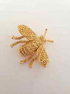 Kenneth Lane Gold Tone Rhinestone Bee Pin