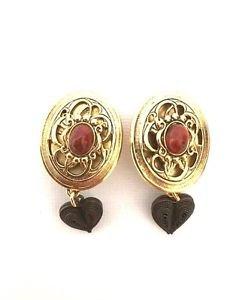 Phillip Ferrandis Paris Vintage Dangling Heart Cabochon Earrings