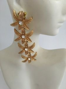 Couture Vintage Gold Tone Flower & Rhinestone Earrings