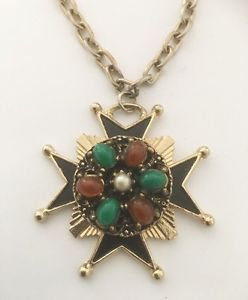 Vintage Enamel Glass Cabochon And Faux Pearl Maltese Cross Necklace