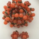1950's Chunky Runway Coral Colored Lucite Bead Bracelet And Earring Set