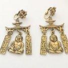 Vintage Pagoda Dangling Buddha Asian Motif Earrings