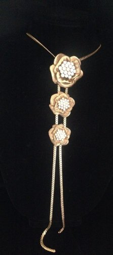 Vintage  Three Tier Gold Tone And Rhinestone Runway Necklace