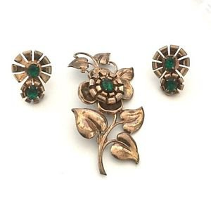 1940's Sterling  And Rhinestone Flower Brooch And Earring Set