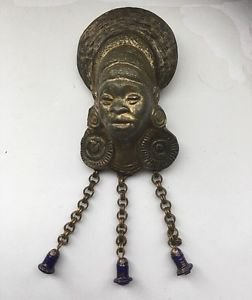 B.Blumenthal Rare Antique African Woman Tribal Brooch Circa Early 1900's