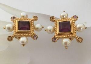 Christian Lacroix Amethyst Glass ,Rhinestone And Faux Pearl Earrings