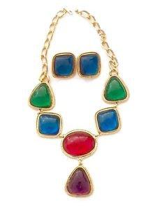 Kenneth J Lane Caprianti KJL Avon Vintage 1993  Necklace And Earring Set.