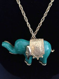 Vintage Thermoset Jade Colored Lucite Elephant Brooch / Pendant Necklace