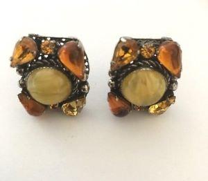Vintage Antique Silver Tone Moonstone And Rhinestone Earrings.