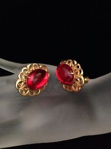 Miriam Haskell Gold Tone & Red Glass Earrings