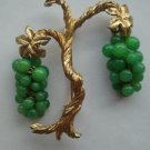 Marvella Vintage 1960's Peking Glass Grape Pin