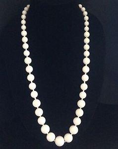 Vintage Miriam Haskell White Plastic Bead Necklace