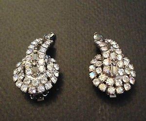 HOBE  Vintage Rhinestone And Smokey Grey Crystal Earrings..Stunning