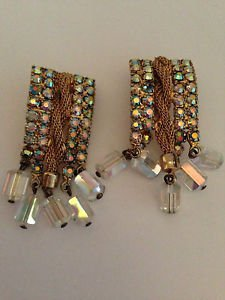 Vintage  Aurora Borealis  Rhinestone And Lucite Bead Earrings