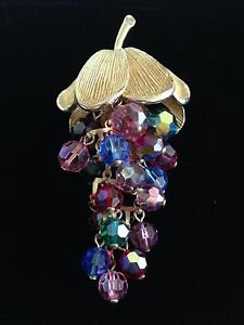 Vintage Grape Brooch in Shades of Pink,Purple,Green,Blue and Red