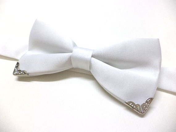 White bow tie with silver color metal tips, mens bowtie, wedding, groom