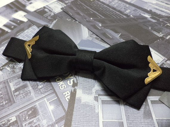 Black bow tie with gold colour metal tips,men bow tie,wedding,steampunk,pre-tied