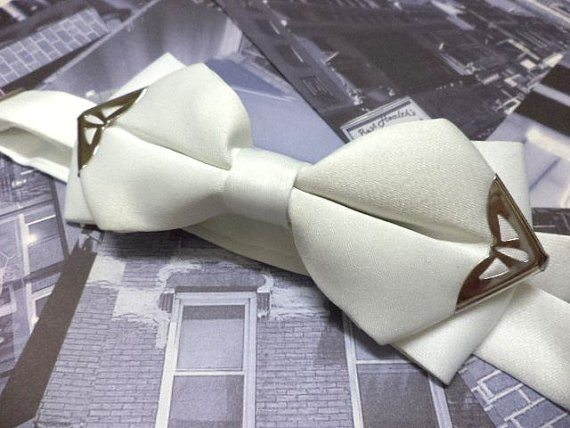 White bowtie with silver colour metal tips,men bow tie,Wedding,steampunk