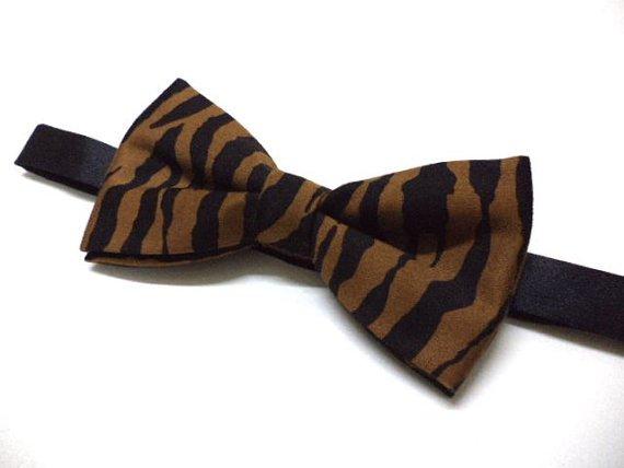 Zebra print bow tie ( black & brown ), animal print men's bow tie, party,wedding, pre-tied