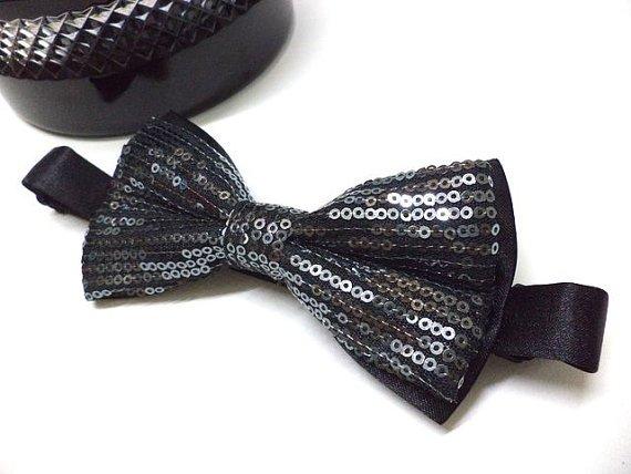 Silver Sequin bowtie, mens bow tie, wedding, groom, party, pre-tied bow tie