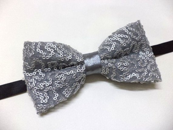 Grey bow tie with sequins , men bowtie , wedding ,party, pre-tied bow tie