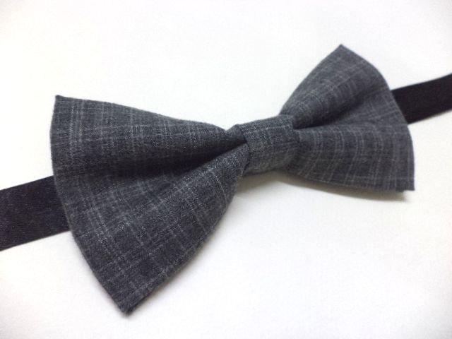 Charcoal, ash grey plaid bow tie, preppy, college, dapper, dandy, men's bow tie