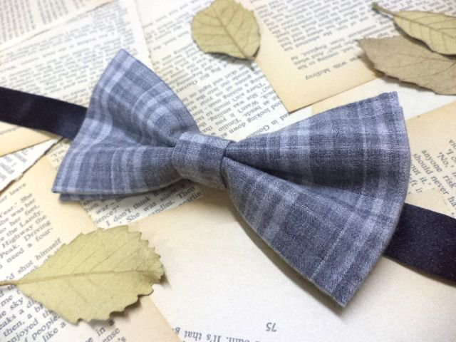 Light grey plaid bow tie, preppy, dapper, college, dandy, men's bow tie