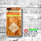 Wood iPhone 5 case, art wood case iphone 5 case, White Monogram iphone 5 cover, Green chevron case