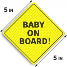 """AU Baby On Board Sticker Sign - Essential for Cars - 2 Pack, 5"""" by 5"""""""