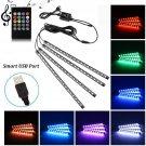 AU Car LED Strip Light, Uniwit 4 Pcs Multicolor Music Car Interior Atmosphere USB Lights