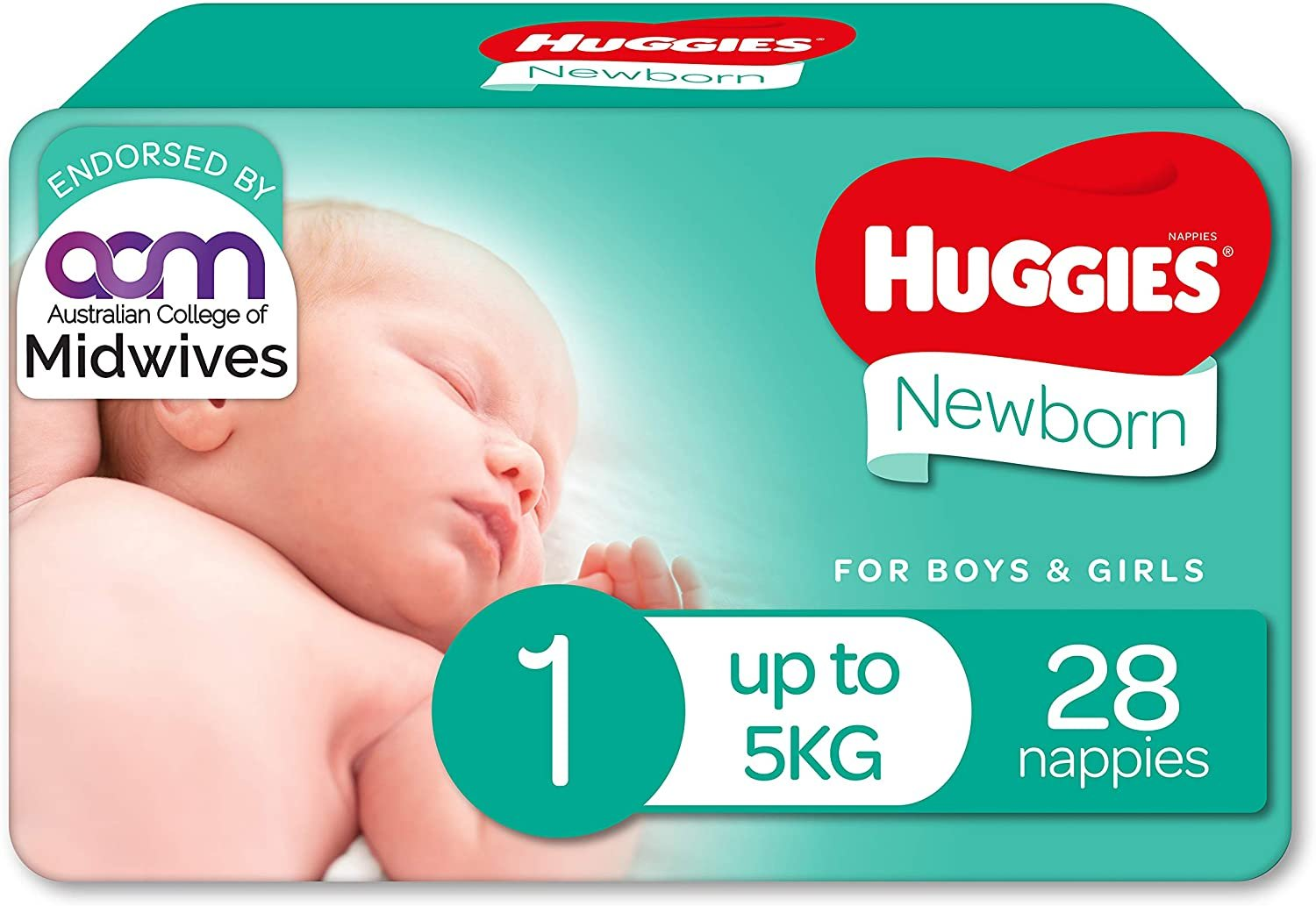 AU Huggies Newborn Nappies Size 1 (up to 5kg) 28 Count