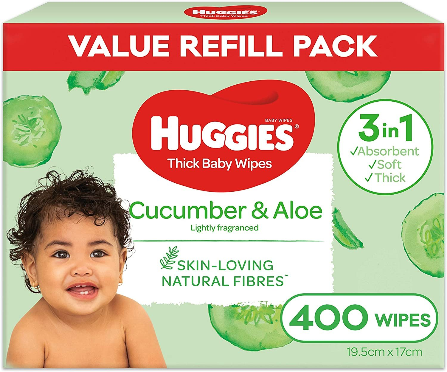 AU HUGGIES Baby Wipes Cucumber and Aloe Vera Baby Wipes, 400 Wipes Refill Pack