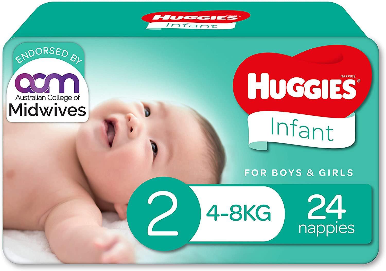 AU Huggies Infant Nappies Size 2 (4-8kg) 24 Count
