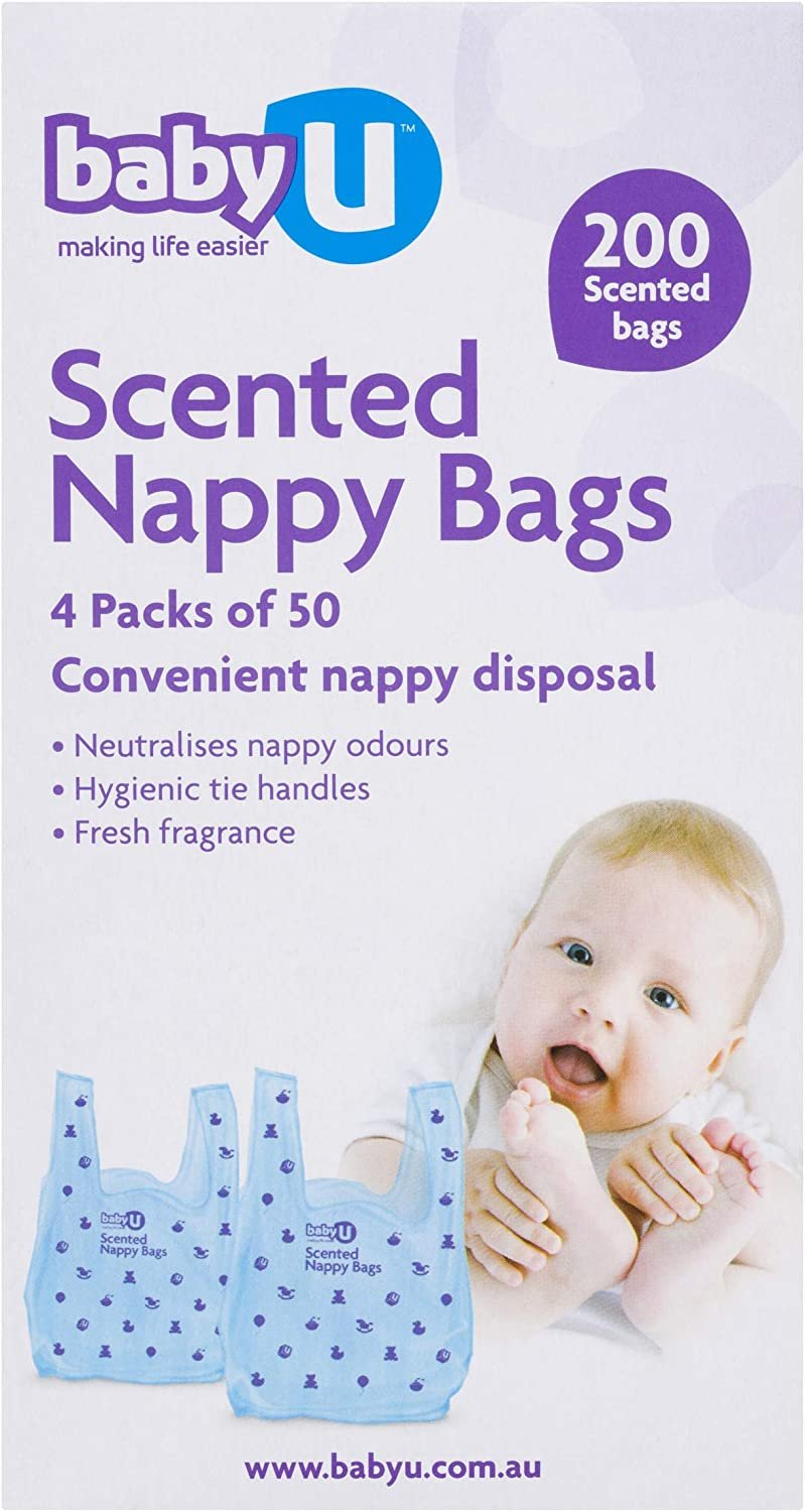 AU Baby U Scented Nappy Bags200 count, blue (5042)
