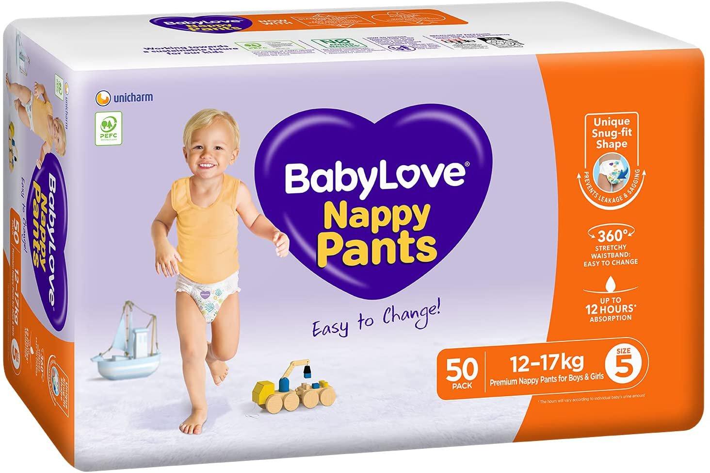 AU BabyLove Premium Nappy Pants, Size 5 (12-17kg), 100 Nappies (2x 50 pack)