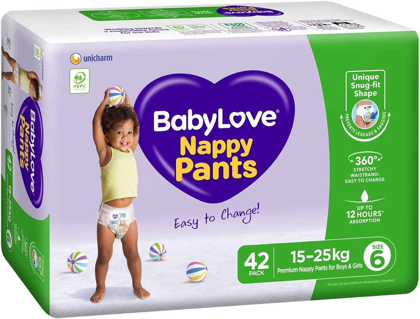 AU BabyLove Premium Nappy Pants, Size 6 (15-25kg), 84 Nappies (2x 42 pack)