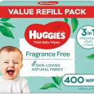 AU HUGGIES Baby Wipes Fragrance Free, 400 Wipes Refill Pack